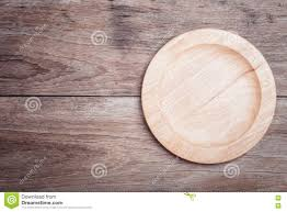 Wooden Table Top View Empty Wooden Bowl On Wooden Table Top View Stock Photo Image