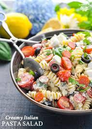 creamy pasta salad recipe creamy italian pasta salad the seasoned mom