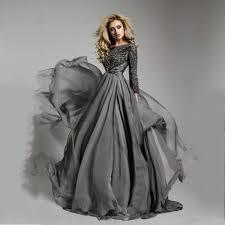 aliexpress com buy three quarter sleeves gray evening dresses