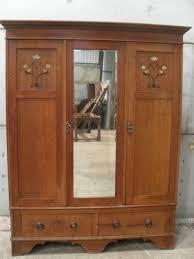 edwardian bedroom furniture for sale edwardian oak arts crafts inlaid triple door mirrored wardrobe