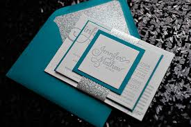 teal wedding invitations real wedding and mathew peacock and silver glitter