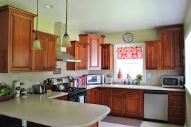 Kitchen Without Backsplash Maple Wood Grey Raised Door Soffit Above Kitchen Cabinets