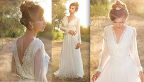 rustic wedding dresses discount simple sleeve boho wedding dresses v neck