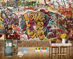 3d graffiti love pattern brick wall murals wallpaper wall art