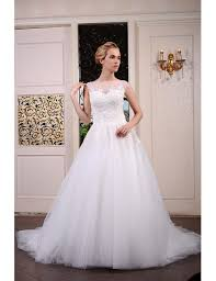 tulle wedding dress gown scoop neck chapel tulle wedding dress with