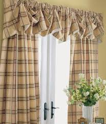 Country Plaid Curtains Window Toppers Greenwich Plaid Lined Austrian Valance Country