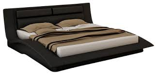 Black Platform Bed Queen J U0026m Wave Black Leather U0026 Lacquer Queen Size Platform Bed