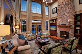 Curtains High Ceiling Decorating Decorating Ideas For Classic Living Room With Brick Fireplace And