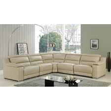 beige leather sectional sofa elda italian leather reclining sectional sofa beige at home usa