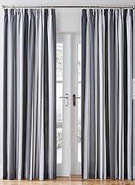 Lined Cotton Curtains Mali Striped Black Grey Cotton Blend Lined Pencil Pleat Curtains