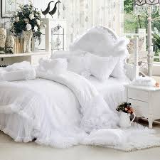 luxury white falbala ruffle lace bedding set twin queen king size bedding for girl princess duvet cover set bedspread bedskirt in bedding sets from home