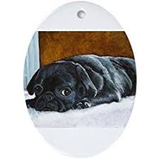 cafepress resting black pug puppy oval ornament oval