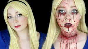 cut throat alice in wonderland halloween makeup tutorial youtube