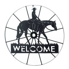 western decor country decor indian decor 10017314 cowboy welcome wheel sign