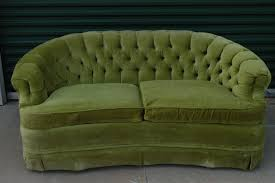 Curved Settees And Sofas by Vintage Lime Green Loveseat Sofa By Broyhill Tufted Velour