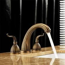 Waterfall Style Faucet Aliexpress Com Buy Antique Brass 3pcs Widespread Bathroom Sink