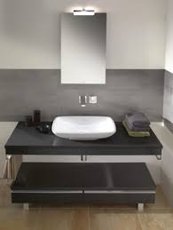 Modern Vessel Sink Modern Two Level Black Bathroom Vanity With Double Drawers And