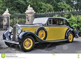 vintage rolls royce phantom 1934 rolls royce phantom ii in yellow editorial photography