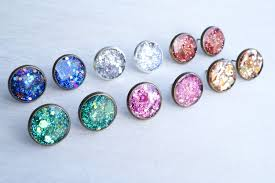 glitter stud earrings large pink glitter stud earrings white