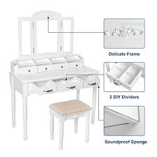 Folding Vanity Table Songmics 7 Drawers Vanity Table Set With Tri Folding Mirror 6