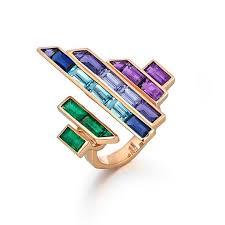 coloured gemstones rings images Electric night disc ring with coloured gemstones tomasz donocik jpg