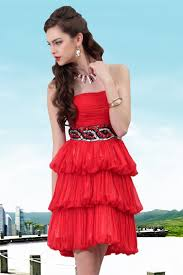 knee length tiered chiffon red graduation dresses with black belt