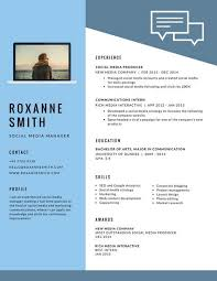 Social Media Resume Template Light Blue Modern Resume Templates By Canva