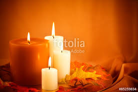 fall decor thanksgiving candle ensemble stock photo and royalty