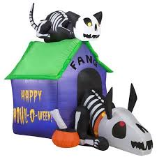 Gemmy Spider Outdoor Halloween Decorations by Gemmy Airblown Inflatable 3 5 U0027 X 4 5 U0027 Skeleton Dog And Cat