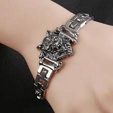 stainless steel bangle charm bracelet images Wolf head stainless steel charm bracelet wolf passion jpg