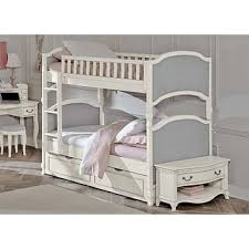 Bunk Bed With Trundle Pearlie Pu Grey Pearl White Twin Over Twin Bunk Bed With Optional