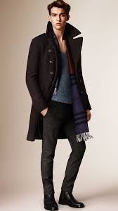 burberry wool blend military coat in black for men lyst