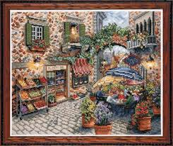design works sidewalk cafe counted cross stitch kit 2735