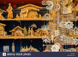 carved wooden ornaments and nativities market