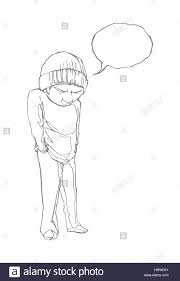 homeless boy with a dialog bubble line drawing eps 8 stock