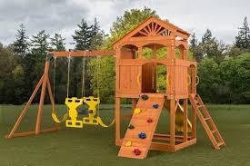 Backyard Discovery Winchester Playhouse Creativecedardesigns Timber Valley Swing Set U0026 Reviews Wayfair