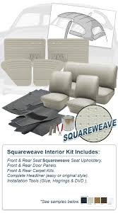 Upholstery Dvd Deluxe Square Weave Vinyl Vw Interior Kit Beetle Sedan 1965 1966
