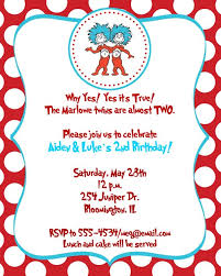 dr seuss thing 1 thing 2 birthday party baby shower invitations