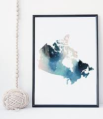 Home Decorations Canada Canadian Map Watercolor Art Print By Whitedoeprints Home Decor