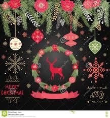 Christmas Invitation Cards Rustic Christmas Merry Christmas Wreath Banner Ball Snowflakes