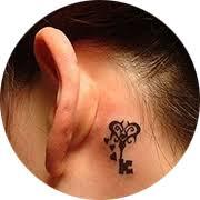 small key tattoo design behind ear below tattoos pinterest
