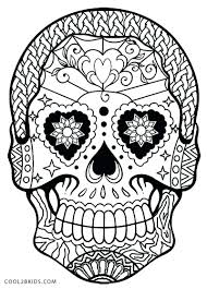 halloween coloring pages skulls skull and crossbones of flowers