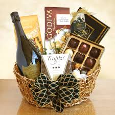 gourmet wine gift baskets among the flowers
