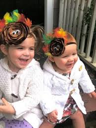 happy thanksgiving turkey hair clip and orange infant stretchy