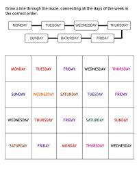 free days of the week worksheets worksheets