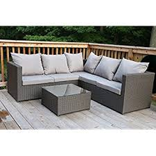 Outdoor Sofa With Chaise Amazon Com 5pc Rattan Wicker Aluminum Frame Sofa Set Cushioned