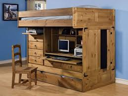 full size loft bed with desk and storage brown wooden laminated