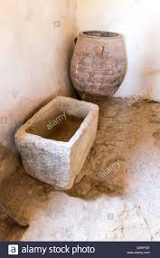 old bathroom and toilet in museum with artifacts of ancient greek