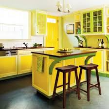 green kitchen islands modern kitchens decorated in yellow and green colors