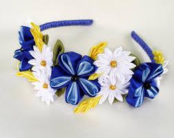 white and blue headband headband kanzashi colorful headband birthday gift for